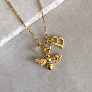 Gold Vermeil Bee Necklace with Initial and Birthstone