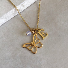 Load image into Gallery viewer, Gold Vermeil Butterfly Necklace with Initial and Birthstone