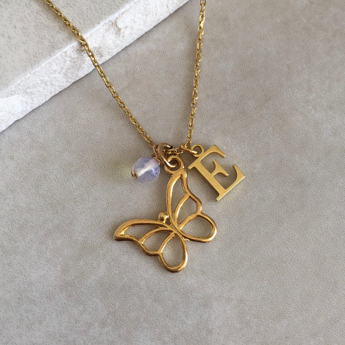 Gold Vermeil Butterfly Necklace with Initial and Birthstone