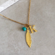 Load image into Gallery viewer, Gold Vermeil Feather Necklace with Initial and Birthstone