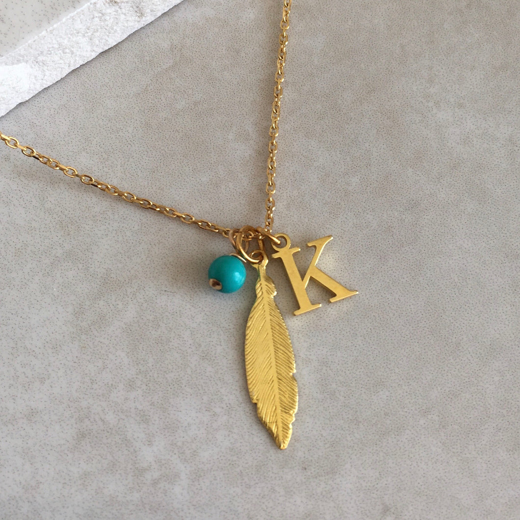 Gold Vermeil Feather Necklace with Initial and Birthstone