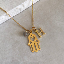 Load image into Gallery viewer, Gold Vermeil Hamsa Hand Necklace with Initial and Birthstone