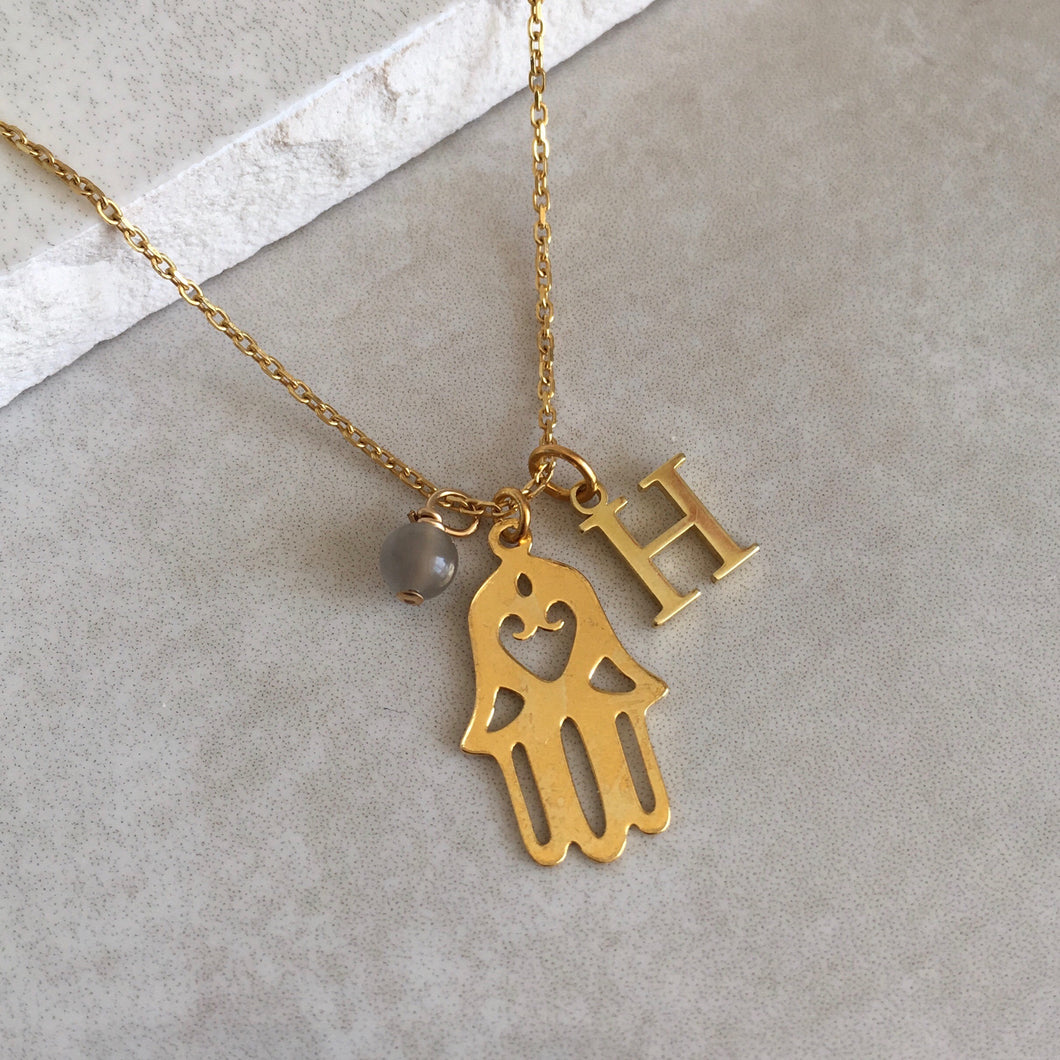 Gold Vermeil Hamsa Hand Necklace with Initial and Birthstone