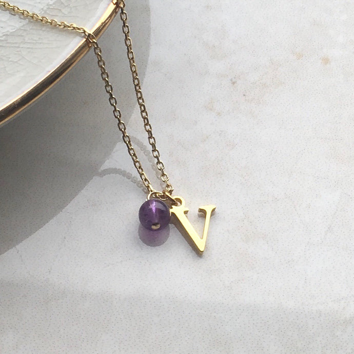 gold initial necklace with amethyst birthstone