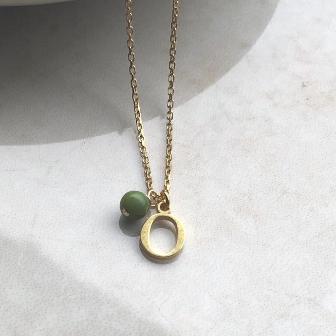 gold initial neckace with chrysoprase birthstone