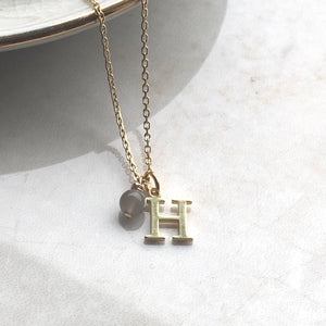 Gold Vermeil Initial and Birthstone Necklace
