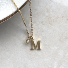 Load image into Gallery viewer, Gold Vermeil Initial and Birthstone Necklace