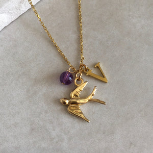 Gold Vermeil Swallow Necklace with Initial and Birthstone