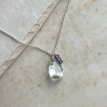 Load image into Gallery viewer, Pale Green Amethyst and Iolite Silver Necklace