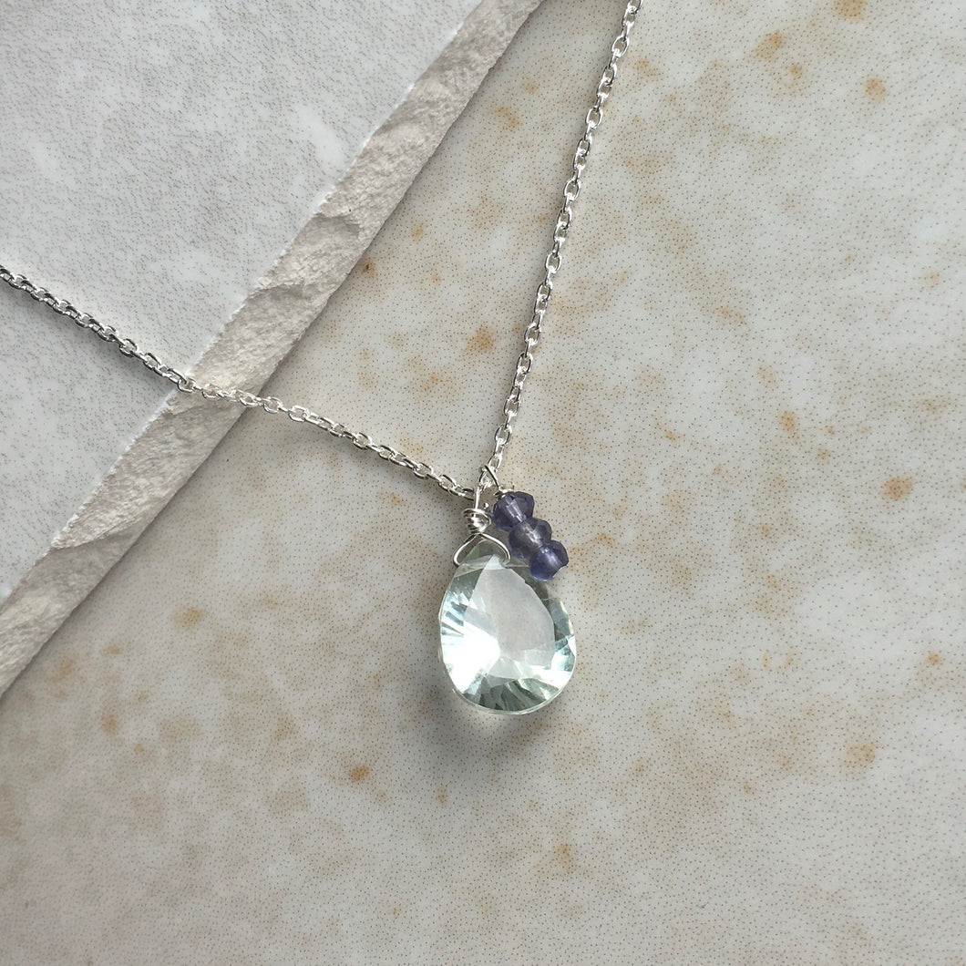 Pale Green Amethyst and Iolite Silver Necklace