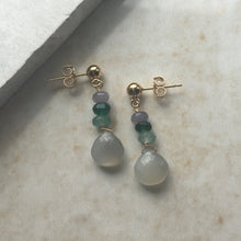 Load image into Gallery viewer, Grey Moonstone and Green Jade Drop Earrings