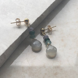 Grey Moonstone and Green Jade Drop Earrings