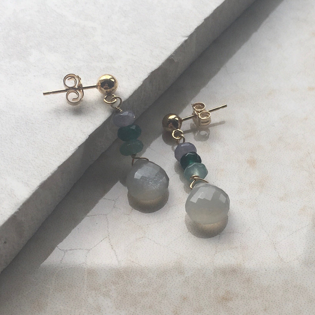 Grey Moonstone Gold Drop Earrings