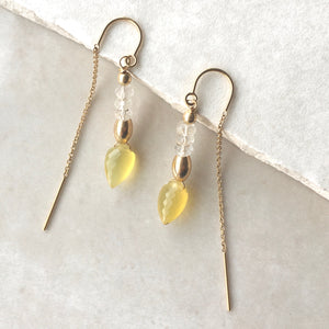 Yellow Opal Threader Earrings