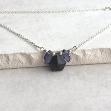 Load image into Gallery viewer, Smoky Quartz and Iolite Silver Petal Necklace