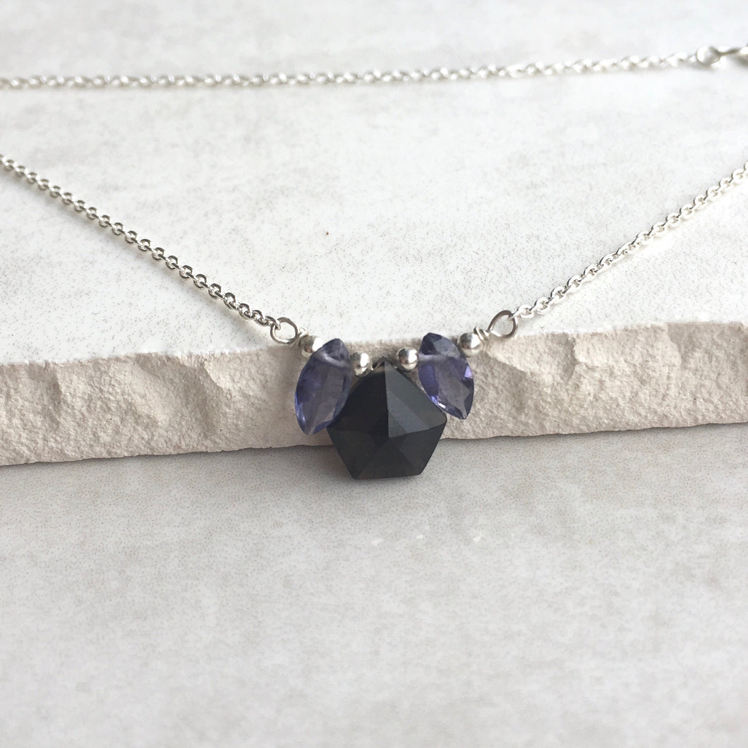 Smoky Quartz and Iolite Silver Petal Necklace