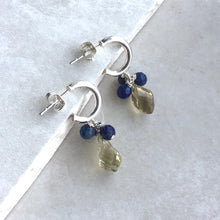 Load image into Gallery viewer, lemon quartz and lapis lazuli silver hoop earrings