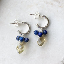 Load image into Gallery viewer, lemon quartz and lapis lazuli silver earrings