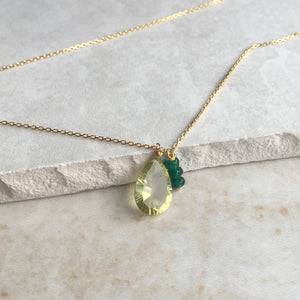 Lemon Quartz and Green Jade Gold Necklace