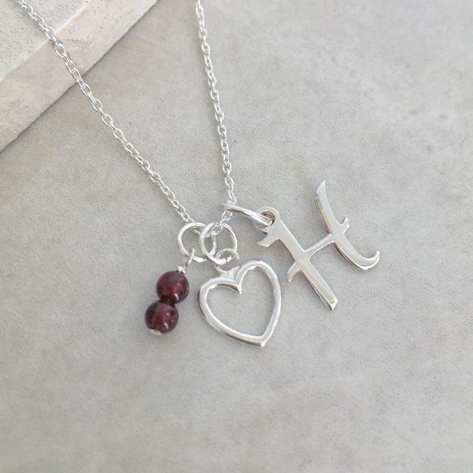 Personalised Heart Necklace with Initial and Birthstone