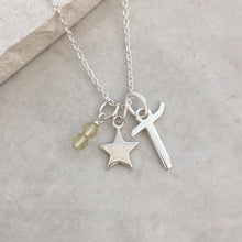Load image into Gallery viewer, Personalised Star Necklace with Initial and Birthstone