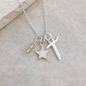 Personalised Star Necklace with Initial and Birthstone