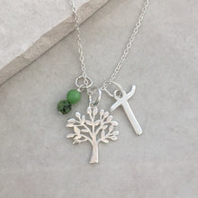 Load image into Gallery viewer, Personalised Tree of Life Necklace with Initial and Birthstone