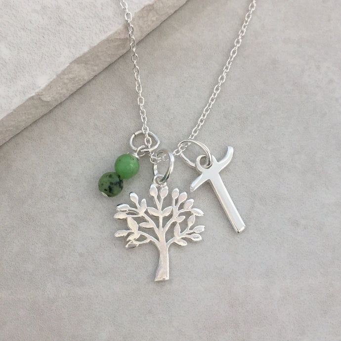 Personalised Tree of Life Necklace with Initial and Birthstone