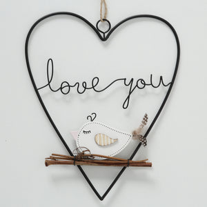 SUSPENSION OISEAU TWIETI EN FER : LOVE YOU