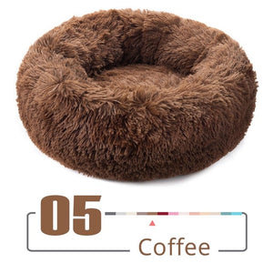 Round Plush Cat Bed House Cat Mat Winter Warm Sleeping Cats Nest Soft Long Plush Dog Basket Pet Cushion for Cats Accessories