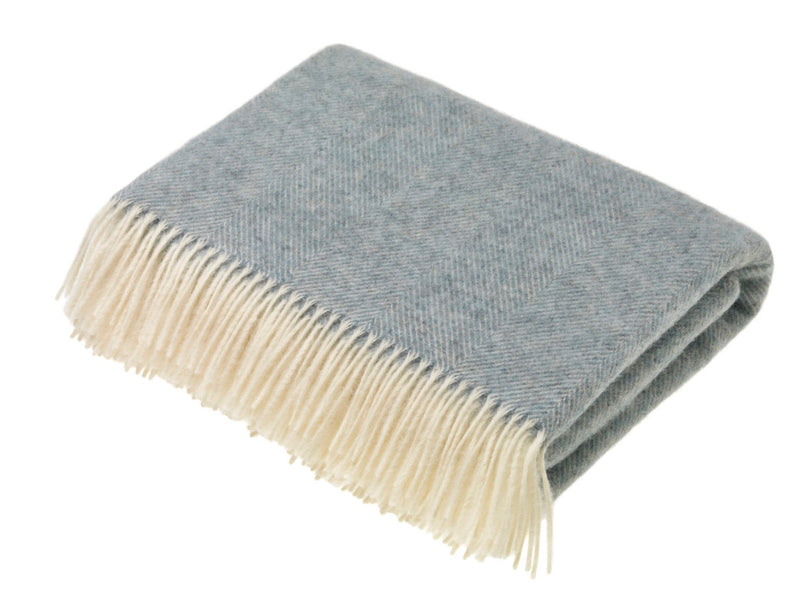 herringbone wool throw duck egg blue