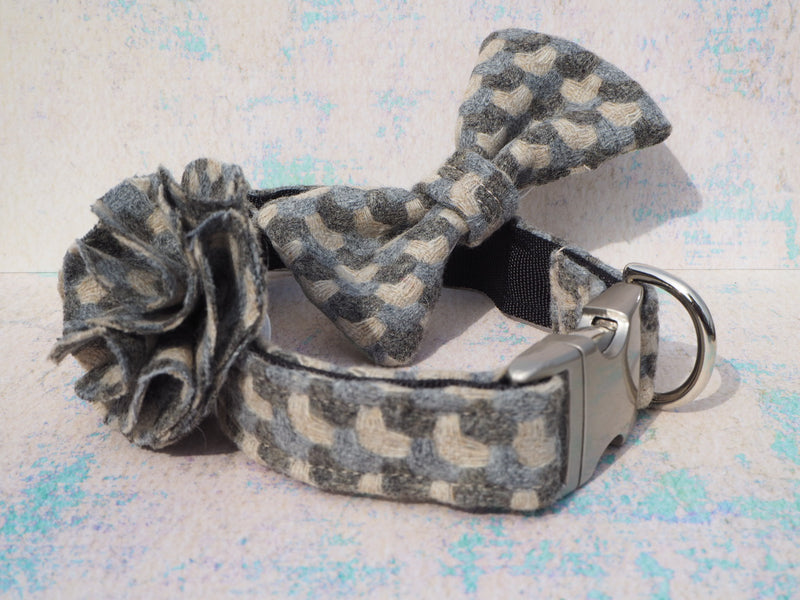 Dog collar flower accessory - Holborn Taupe