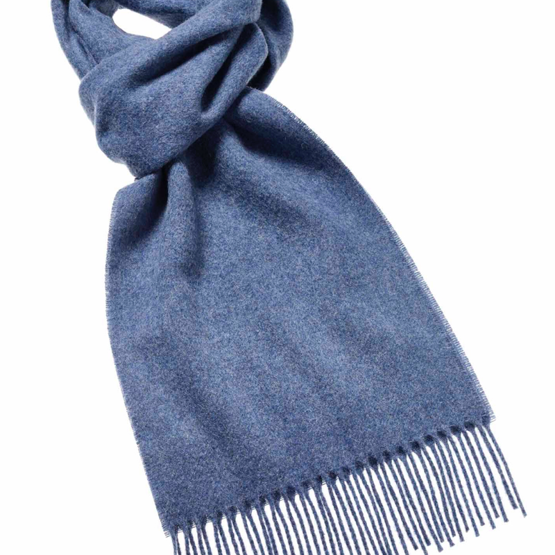 Plain wool scarf airforce blue