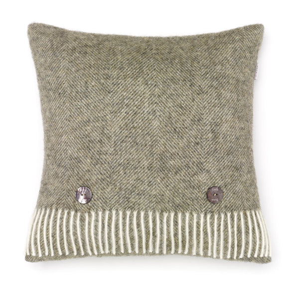 Herringbone Wool Cushion Moss