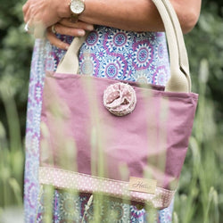 Hettie handbag  - canvas and lavender spot