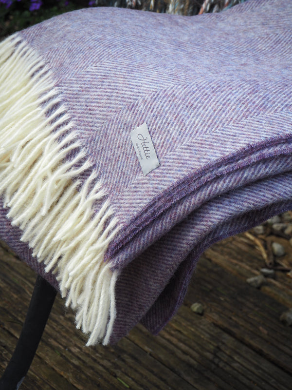 herringbone wool throw  lavender