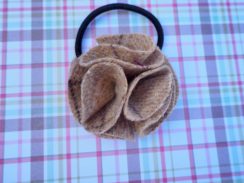 Children's flower hair bobble slate oatmeal
