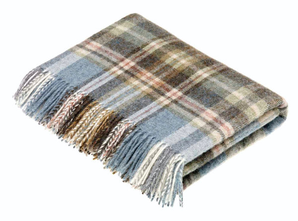 Wool throw glen Coe aqua