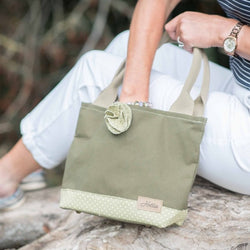 Hettie handbag  - canvas and green spot