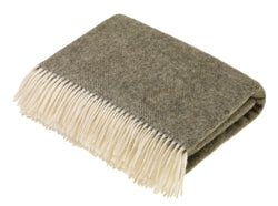 Herringbone wool throw Moss