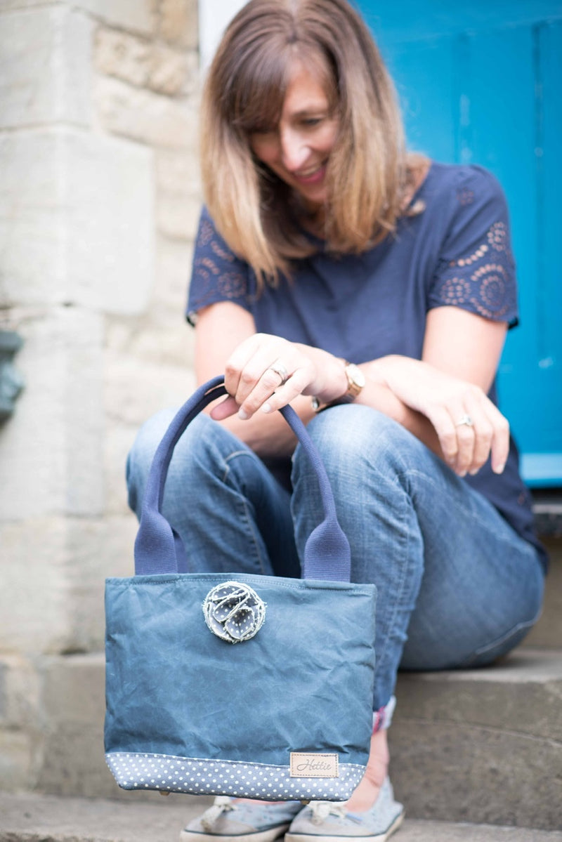 Hettie handbag  - canvas and denim spot