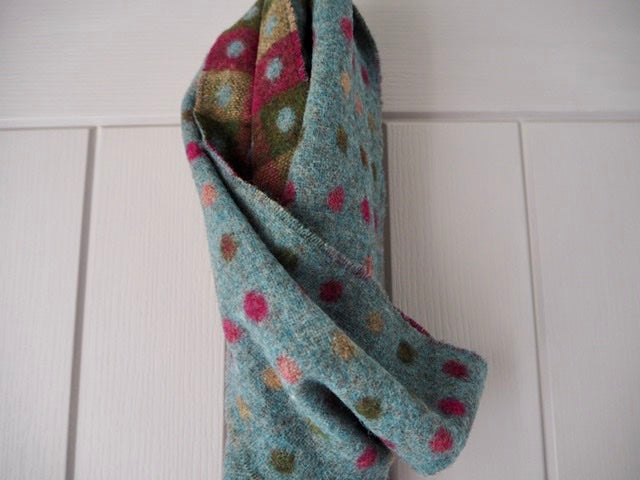 wool scarf multispot teal