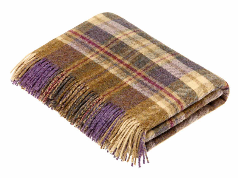 Wool throw Highland heather