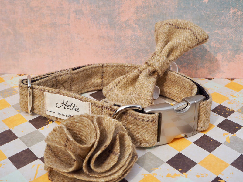 Dog collar flower accessory - Slate Oatmeal