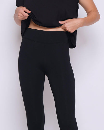 Black Bamboo Cotton Leggings - Hellolilo