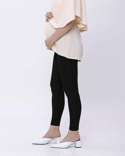 Black Bamboo Cotton Maternity Leggings - Hellolilo
