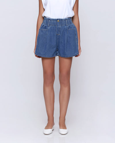 Dark Blue Denim Shorts - Hellolilo