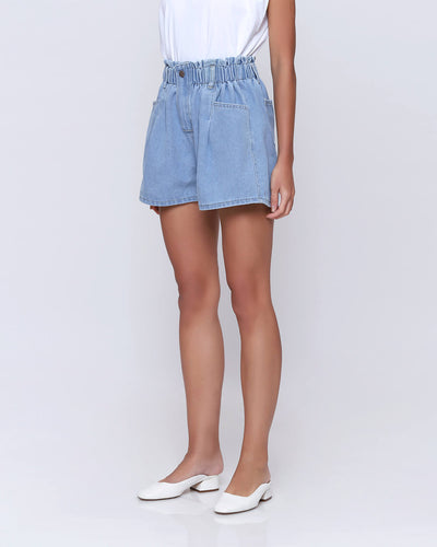 Light Blue Denim Shorts - Hellolilo