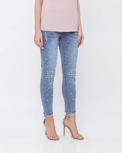 Pearl No Ripped Jeggings - Hellolilo X Mmehuillet