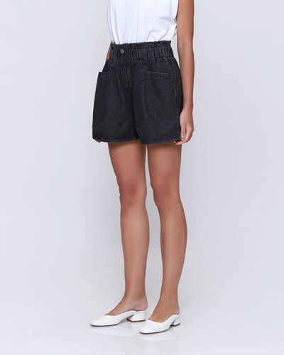 Washed Black Denim Shorts - Hellolilo